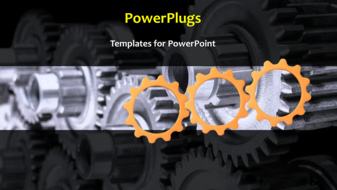 PowerPoint template displaying a number of gears depicting industrial background - widescreen format